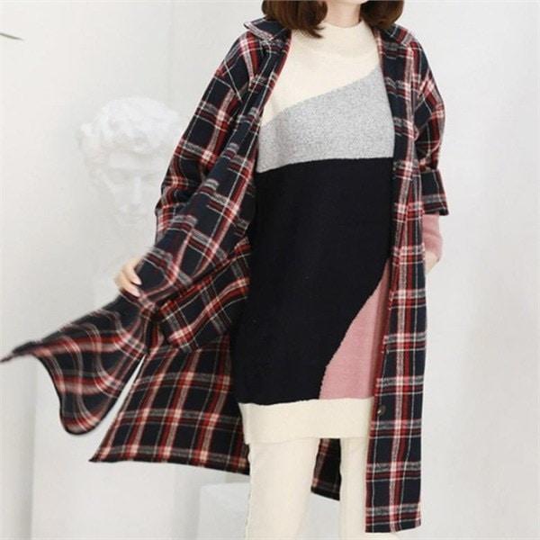 チェックロングシャツジャケットLJK002 new 女性のジャケット / 韓国ファッション/ジャケット/秋冬/レディース/ハーフ/ロング/