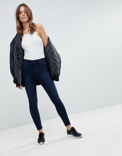 エイソス レディース デニムパンツ ボトムス ASOS DESIGN Ridley high waist skinny jeans in vivienne blue black wash