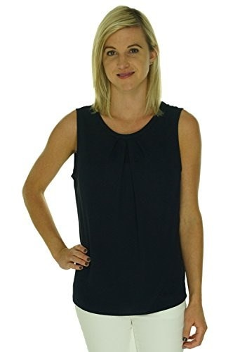 Nine West Navy Womens Large Sleeveless Pleated Blouse @007 Blue L