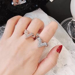 キラキラ輝くおしゃれなV字指輪CZダイヤモンドLXMR52