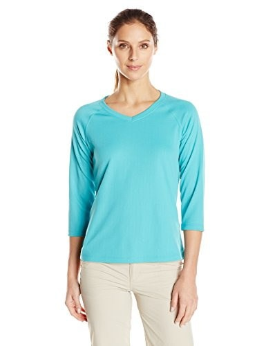 Columbia Womens Skiff Agua 3/4 Sleeve Shirt, X-Large, Miami