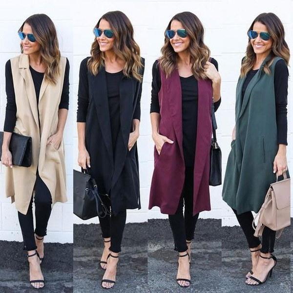 New Women Casual Sleeveless Long Duster Coat Jacket Cardigan Suit Vest Waistcoat