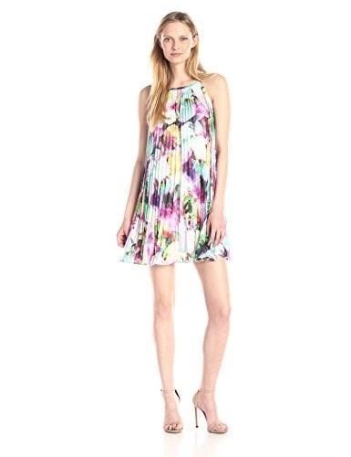 Maggy London Womens Technicolor Printed Chiffon Trapeze Dress, Soft White/Fuchsia, 10