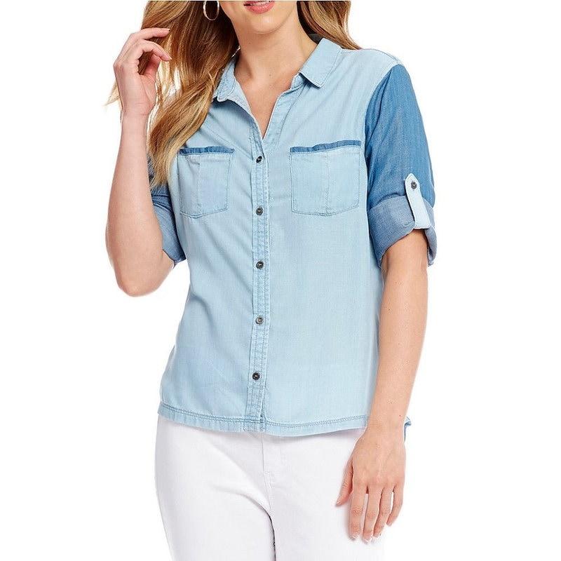 レバ レディース トップス ブラウス・シャツ【Reba Two-Toned Chambray Shirt】Multi