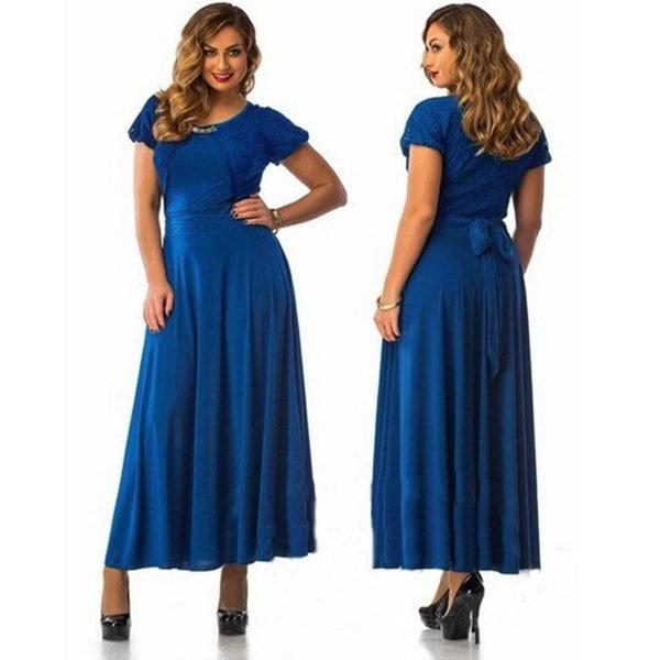 2016ホットセールエレガントな女性プラスサイズの半袖ロングマキシレースウエディングドレス