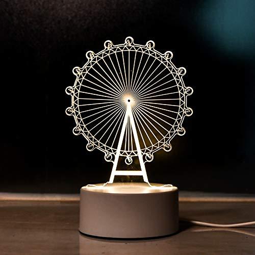 テーブルランプ デスクライト おしゃれ 寝室 ナイトライト USB充電 ベッドサイドランプ 防水性 3D 小さい卓上 スタンド 自然光 照明の 寝室の 装飾用(観覧車)観覧車