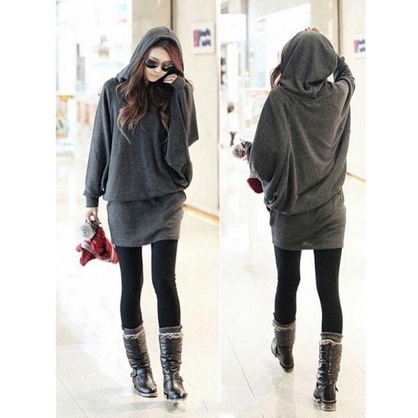 女性ファッショントップフード付きバットウィングスウェットミニドレストップブラウスシャツチュニックプラスサイズ