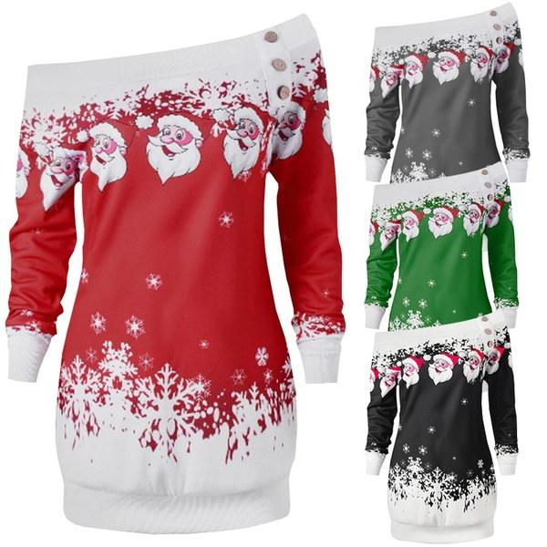 女性セクシーな美しさサンタクロースプリントスカートスリムフィットクリスマスコスチュームドレスレディースファッションクリスマス