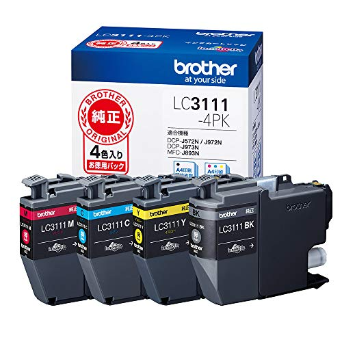 【brother純正】インクカートリッジ4色パック LC3111-4PK 対応型番:DCP-J982N、DCP-J978N、DCP-J582N、DCP-J577N、MFC-J738DN 他黒、シアン、