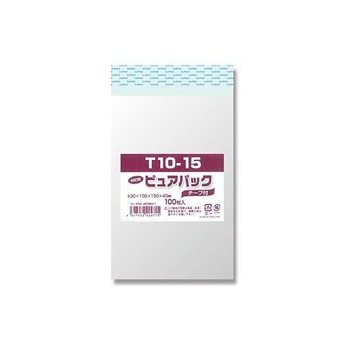 【メール便発送】シモジマ OPP袋 Nピュアパック100枚 テープ付き T10-15 6798311