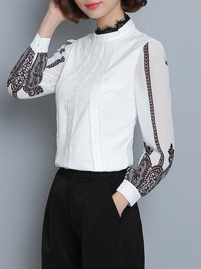 新しい女性刺繍レース長袖スウィートシフォンシャツ