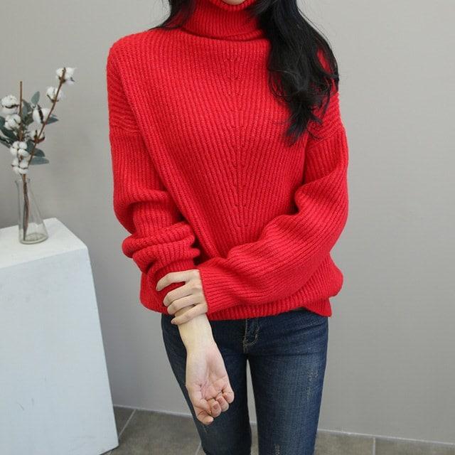 女性の首ポーラニットマンスリー完璧フィット感で誰にでもよく似合う暖かいタートルネックニット