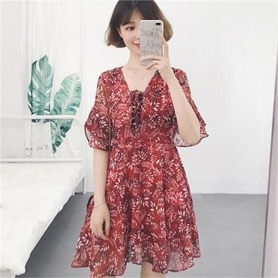 アイレットフラワーワンピースnew プリントワンピース/ワンピース/韓国ファッション