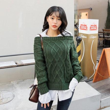 [Tom n Rabbit]ダイヤニットトップニットシャツ重ね着デイリーkorean fashion style