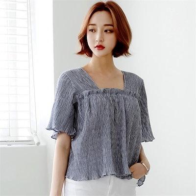 ディエイスフリルスクエアブラウスnew 女性ブラウス/プリントブラウス/韓国ファッション