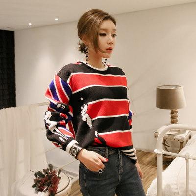 ♥大ヒット商品超特価♥韓国ファッション女性服1位『VIVARUBY』♡可愛い 配色 ミックス ストライプ 猫ニット♡最高級品質! 送料無料 P0000SMU