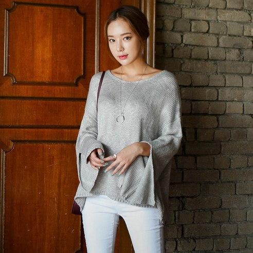 【WhiteFox]ラッパ袖ひらきラウンドネックニットkorea fashion style free shipping