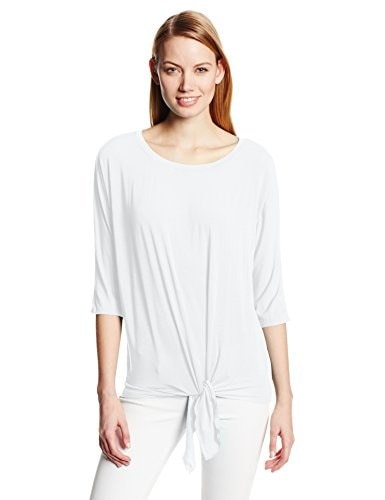 Michael Stars Womens Jersey Lycra 3/4 Sleeve with Tie Hem, White, One Size