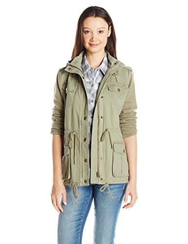 ONeill Womens Zelda Woven Zip up Jacket, Army Green/Army, Small