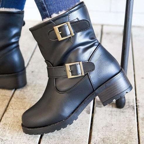 ★韓国の発送cp030★SNファッション> > ヴィンテージツーベルト毛裏地ショートブーツsn636 スタイリッシュな女性のファッショナブルな靴のファッション