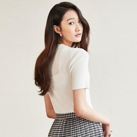 ナインNAINシースルーバック・ポイント・ニットトップT3612 ニット/セーター/韓国ファッション