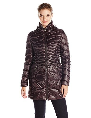 Laundry Womens Packable Down Jacket with Hood, Aubergine/Pewter, Medium