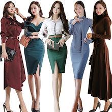 「 11/14新作追加 Special Offer」♥高品質♥韓国ファッション♥OL、正式な場合、礼装ドレス♥セクシーなワンピース、一字肩♥二点セット、側開、深いVネック♥やせて見える、ハイウエ