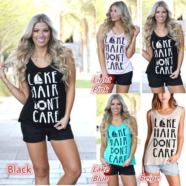 Sleeveless Womens Casual Beach Shirts Letter Lake Hair Don t Care Cotton Tank Tops