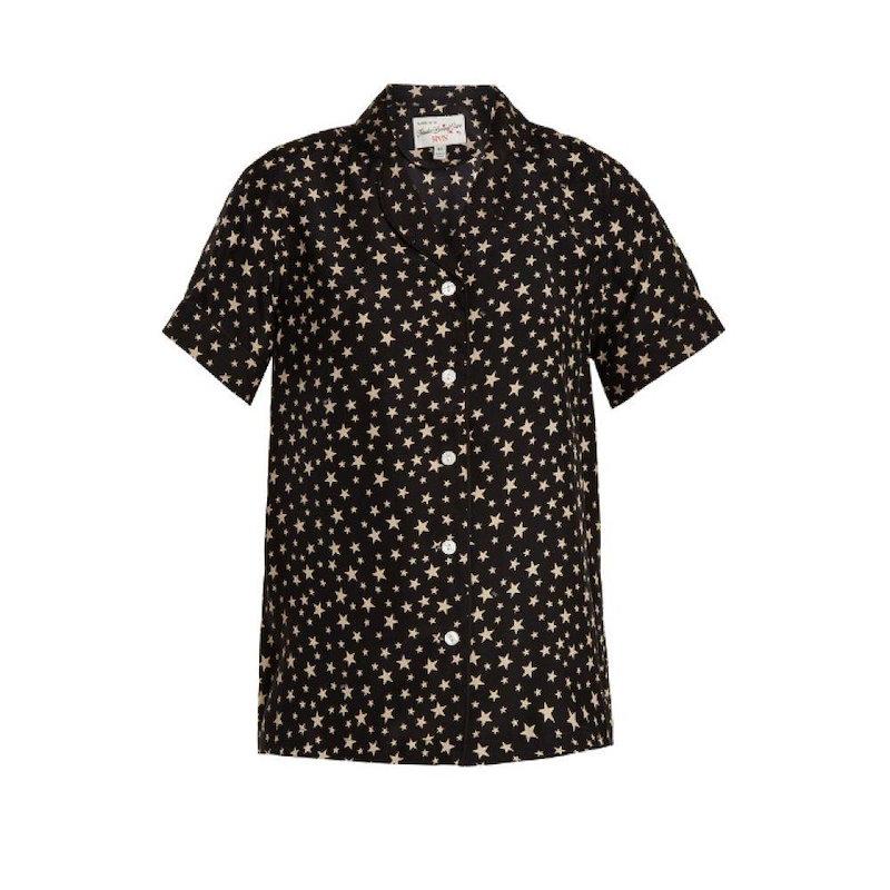 HVN レディース トップス【Alice short-sleeved star-print silk top】Black