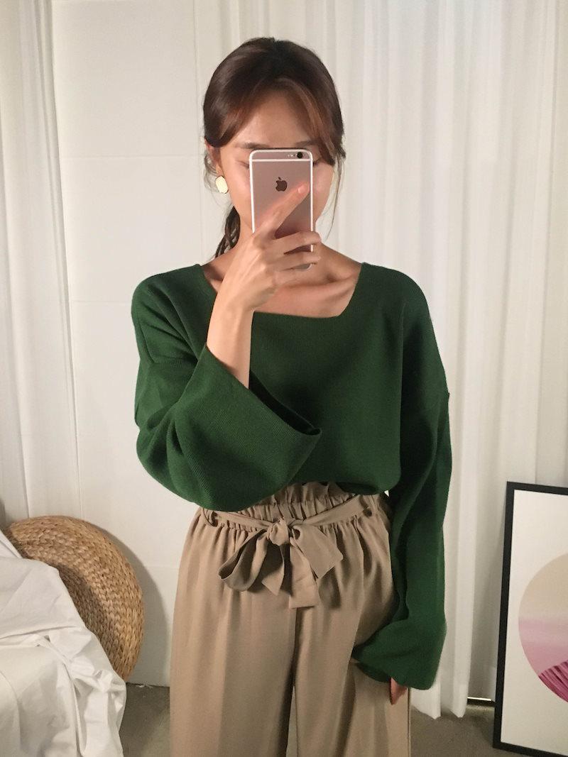 アーバンスクエアネックルーズニットkorea fashion style