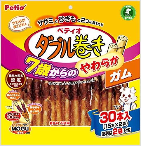 ペティオ (Petio) 犬用おやつ ダブル巻き 7歳からのやわらかガム ササミと砂ぎも 30本入(15本×2個袋)