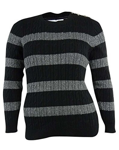 Charter Club Womens Plus Size Striped Long Sleeve Sweater 0X Heather Charcoal