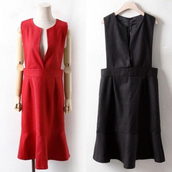 ウィスィモールIWメロサスペンダーフリルのワンピースPG18012col66110size 綿ワンピース/ 韓国ファッション