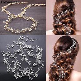 ファローニーウェディング ヘッドドレス シミュレートパールヘアアクセサリー 花クリスタル クラウン花エレガントな髪