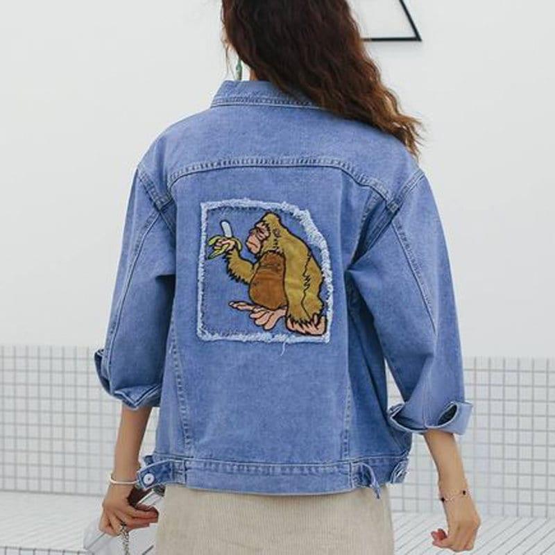 高品質韓国ファッション原宿のオランウータンの刺繍のゆったりデニムのコートの女の刺繍のジャケット