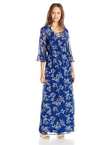 As U Wish Juniors Printed Bell Sleeve Maxi Dress, Navy White, Large