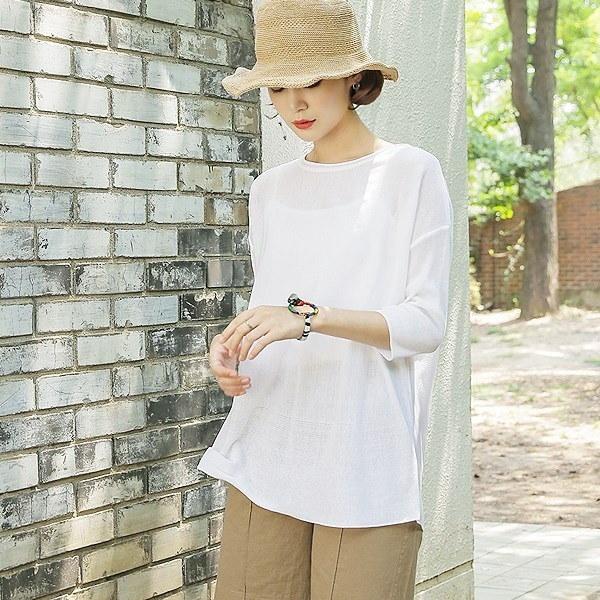 涼しいルーズフィットニット 女性ニット/ラウンドニット/韓国ファッション