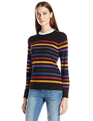 Anne Klein Womens Long Sleeve Multi Color Striped Sweater, Black Combo, Small