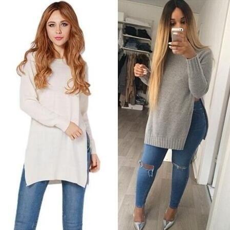 ファッション女性のTシャツ長袖セータージャケットジャンパースプリット