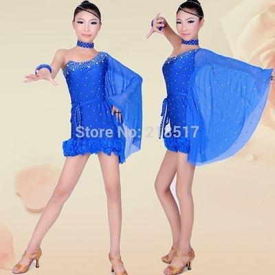 One-Shoulder Kid Latin Dance Dress latin Dancewear Stage Performance Competition Ballroom Dance Costume  Girls Latin Dance Dress