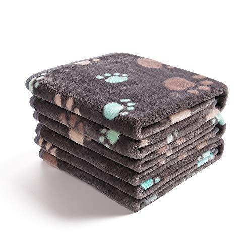 luciphia 3枚セット ブランケットペット用 毛布 犬猫 マット タオル ソフト 洗える フランネル 暖かい ふわふわ 秋冬 防寒(グレー肉球 M:76x52cm)グレー肉球M (76x52cm