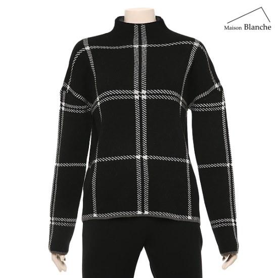 メゾンブルランスィチェック反目ニットM174TSWB17 / ニット/セーター/タートルネック/ポーラーニット/韓国ファッション