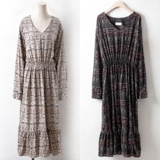 ウィスィモールIW・エスニック花ナヨムワンピースCH1801S2col66110size プリントのワンピース/ 韓国ファッション