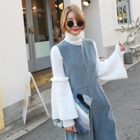 アンゴラフリルポーラニットティーデイリールックデイリーバックkorea women fashion style