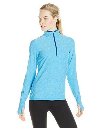 Helly Hansen Womens Aspire Flex 1/2 Zip Long Sleeve Training Shirt, Bright Sky Heather, Large