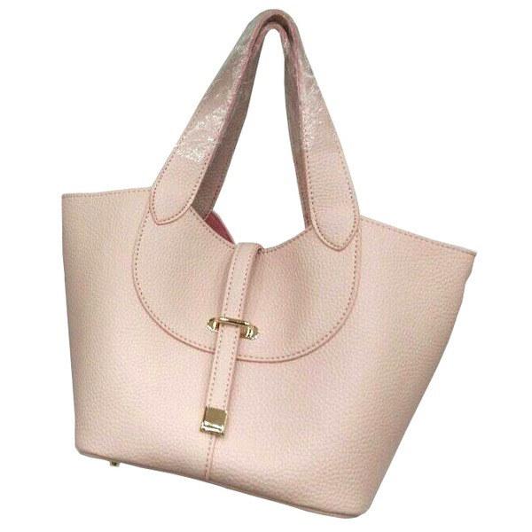 柔らか素材付♪大きく開閉する持ち手長めのシンプルハンドバッグ/ライトピンク