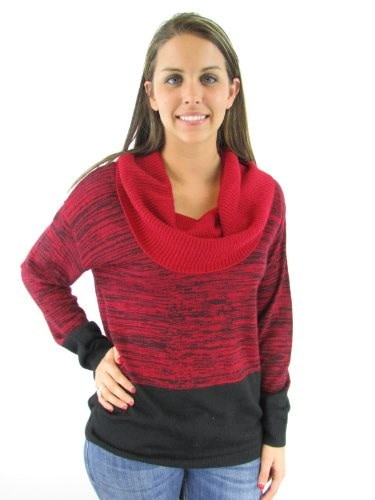Ellen Tracy All That Glitters Pullover Cowl Neck Sweater - Regal Red (Small)