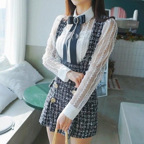 パビエンポムキン行き来するようにパビエンポムキンエコリズ・ツイードつなぎ 塔/袖なしのワンピース/ 韓国ファッション