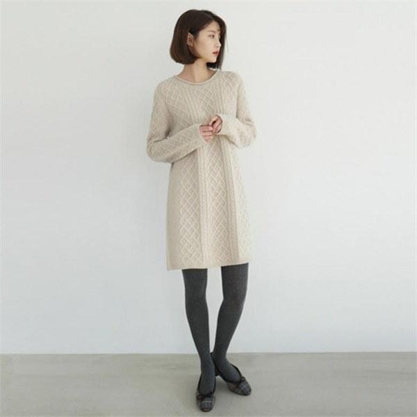 [デイリーマンデー] Twist knit midi one-piece /ワンピースnew 無地ワンピース/ワンピース/韓国ファッション