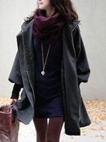 フード付き ジッパー 長袖 プラスサイズ 合わせやすい コート 女性 ラシャコート